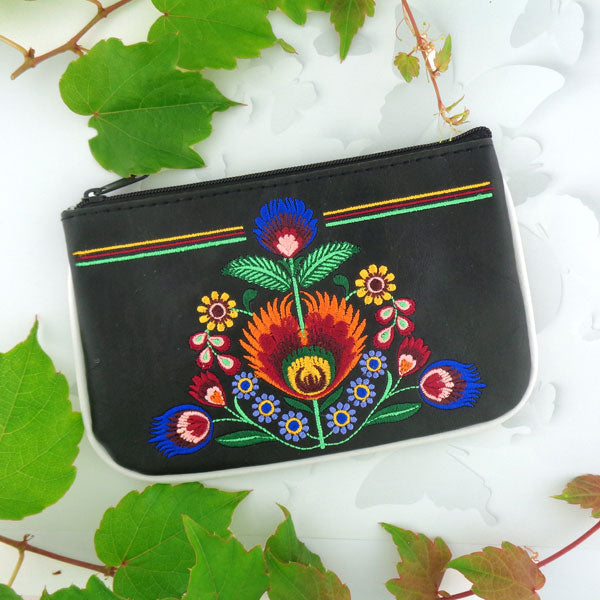 Designed by PETA approved vegan brand LAVISHY, this Eco-friendly, ethically made, cruelty free small pouch for women features lovely embroidery motif of Polaska flora. Wholesale available at www.lavishy.com along with other unique & fun vegan fashion accessories for retailers like gift shop & boutique.