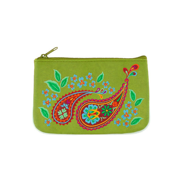 Shop vegan brand LAVISHY's Indian paisley & flower vegan small pouch/coin purse for women that is Eco-friendly, ethically made, cruelty free. Great for everyday use or a gift for your family & friends. Wholesale at www.lavishy.com to gift shops, fashion accessories & clothing boutiques worldwide since 2001.