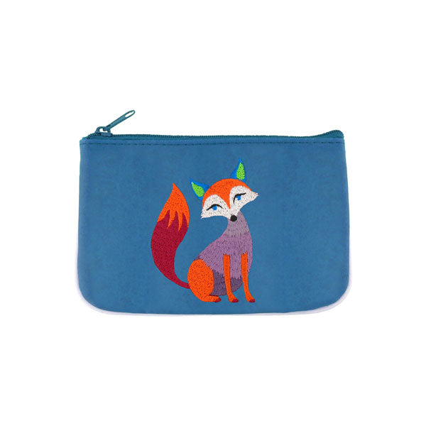 Designed by PETA approved vegan brand LAVISHY, this Eco-friendly, ethically made, cruelty free small pouch for women features lovely embroidery motif of fox. Wholesale available at www.lavishy.com along with other unique & fun vegan fashion accessories for retailers like gift shop & boutique.