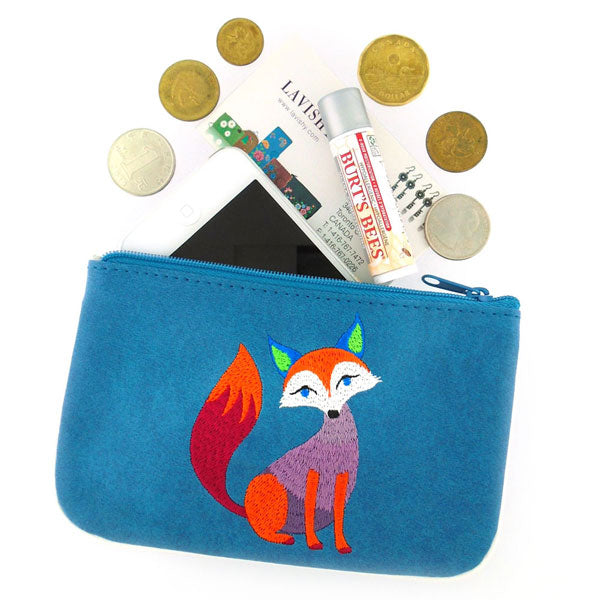 Designed by vegan brand LAVISHY, this Eco-friendly, ethically made, cruelty free small pouch for women features lovely embroidery motif of fox. Wholesale available at www.lavishy.com along with other unique & fun vegan fashion accessories for retailers like gift shop & boutique.