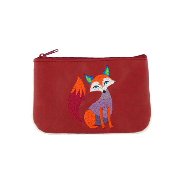 Online shopping for LAVISHY  bohemian style fox embroidered vegan small pouch/coin purse that is Eco-friendly, ethically made, cruelty free. Great for everyday use or a gift for your family & friends. Wholesale at www.lavishy.com to gift shops, fashion accessories & clothing boutiques worldwide since 2001.