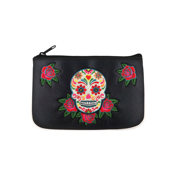Shop vegan brand LAVISHY's Mexican day of the dead sugar skull & rose flower  embroidered vegan small pouch/coin purse that is Eco-friendly, ethically made, cruelty free. Great for everyday use or a gift for your family & friends. Wholesale at www.lavishy.com to gift shops, fashion accessories & clothing boutiques worldwide since 2001.