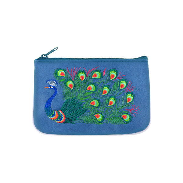 Shop vegan brand LAVISHY's peacock embroidered vegan small pouch/coin purse that is Eco-friendly, ethically made, cruelty free. Great for everyday use or a gift for your family & friends. Wholesale at www.lavishy.com to gift shops, fashion accessories & clothing boutiques worldwide since 2001.