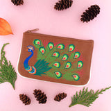 Online shopping for LAVISHY  peacock embroidered vegan small pouch/coin purse that is Eco-friendly, ethically made, cruelty free. Great for everyday use or a gift for your family & friends. Wholesale at www.lavishy.com to gift shops, fashion accessories & clothing boutiques worldwide since 2001.