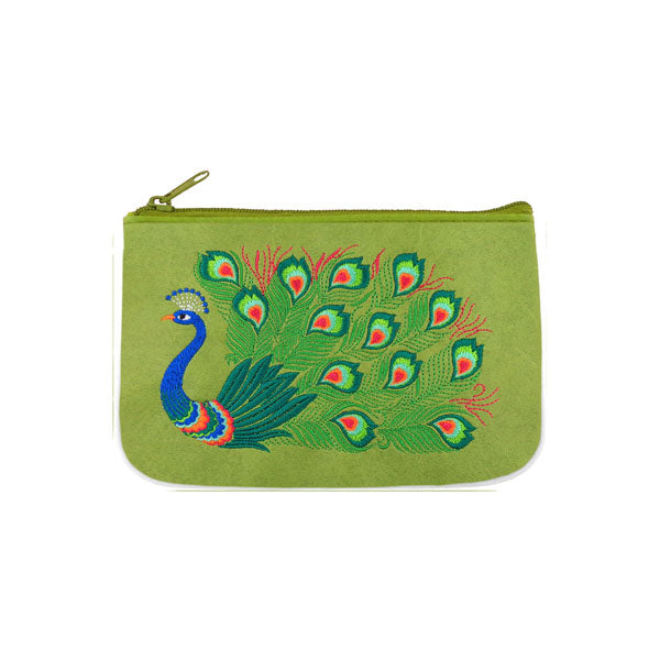 Designed by vegan brand LAVISHY, this Eco-friendly, ethically made, cruelty free small pouch for women features lovely embroidery motif of peacock. Wholesale available at www.lavishy.com along with other unique & fun vegan fashion accessories for retailers like gift shop & boutique.