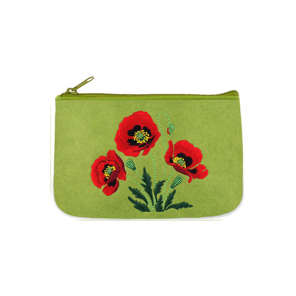 Designed by vegan brand LAVISHY, this Eco-friendly, ethically made, cruelty free small pouch for women features bold embroidery motif of red poppy flower. Wholesale available at www.lavishy.com along with other unique & fun vegan fashion accessories for retailers like gift shop & boutique.