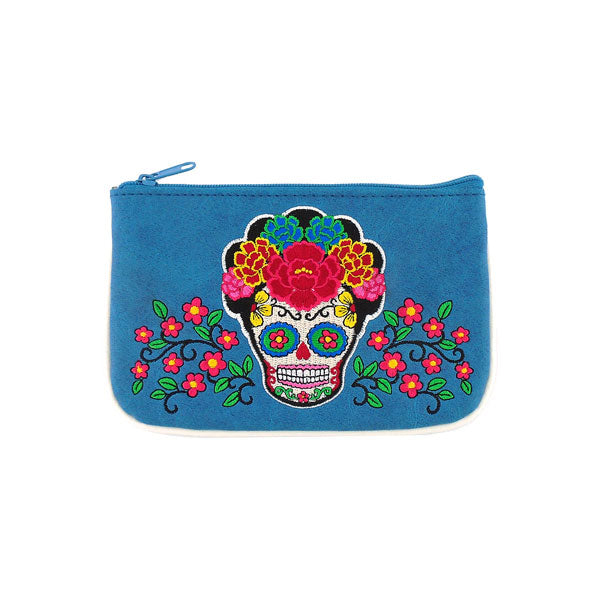 Shop vegan brand LAVISHY's Mexican artist Frida style sugar skull with corolla Flower embroidered vegan small pouch/coin purse that is Eco-friendly, ethically made, cruelty free. Great for everyday use or a gift for your family & friends. Wholesale at www.lavishy.com to gift shops, fashion accessories & clothing boutiques worldwide since 2001.
