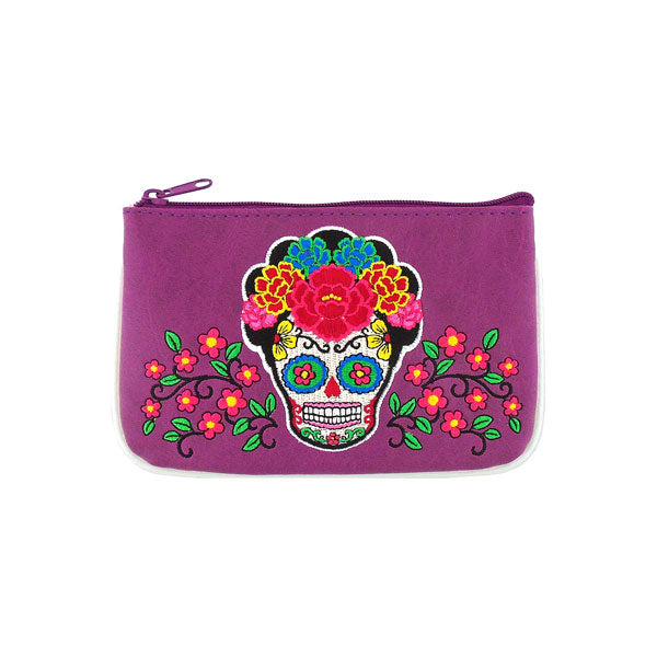 Online shopping for LAVISHY  Mexican artist Frida style sugar skull with corolla Flower embroidered vegan small pouch/coin purse that is Eco-friendly, ethically made, cruelty free. Great for everyday use or a gift for your family & friends. Wholesale at www.lavishy.com to gift shops, fashion accessories & clothing boutiques worldwide since 2001.