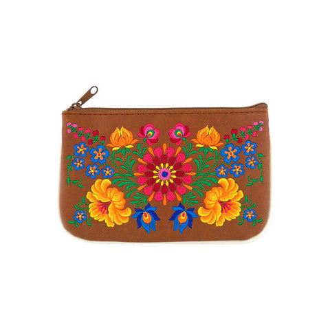 Designed by vegan brand LAVISHY, this Eco-friendly, ethically made, cruelty free small pouch for women features lovely embroidery motif of Hungarian flower. Wholesale available at www.lavishy.com along with other unique & fun vegan fashion accessories for retailers like gift shop & boutique.