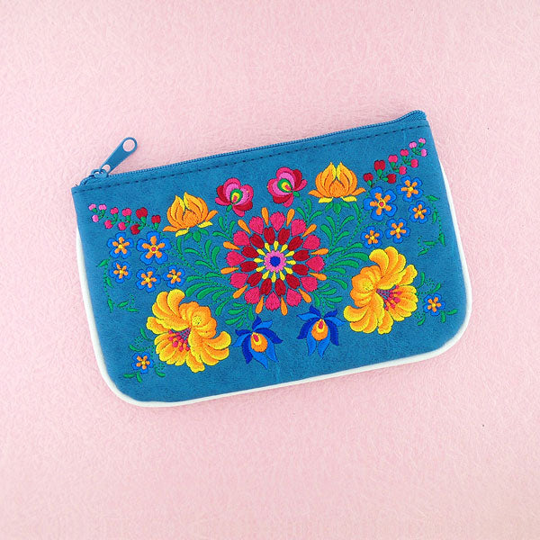 Shop vegan brand LAVISHY's Hungarian folk art style flower embroidered vegan small pouch/coin purse that is Eco-friendly, ethically made, cruelty free. Great for everyday use or a gift for your family & friends. Wholesale at www.lavishy.com to gift shops, fashion accessories & clothing boutiques worldwide since 2001.