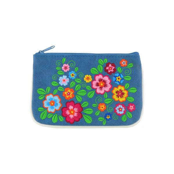 Designed by vegan brand LAVISHY, this Eco-friendly, ethically made, cruelty free small pouch for women features lovely embroidery motif of flower. Wholesale available at www.lavishy.com along with other unique & fun vegan fashion accessories for retailers like gift shop & boutique.