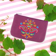 Shop vegan brand LAVISHY's Indian paisley pattern embroidered vegan small pouch/coin purse that is Eco-friendly, ethically made, cruelty free. Great for everyday use or a gift for your family & friends. Wholesale at www.lavishy.com to gift shops, fashion accessories & clothing boutiques worldwide since 2001.