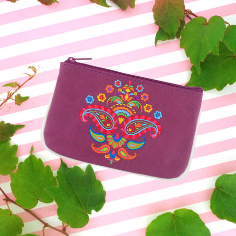 Designed by vegan brand LAVISHY, this Eco-friendly, ethically made, cruelty free small pouch for women features lovely embroidery motif of paisley. Wholesale available at www.lavishy.com along with other unique & fun vegan fashion accessories for retailers like gift shop & boutique.