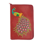 Online shopping for vegan brand LAVISHY's vegan leather jewelry pouch with peacock embroidery motif. Great for everyday use & travel. A great gift for friends & family. Wholesale at www.lavishy.com to gift shops, fashion accessories & clothing boutiques in Canada, USA & around the world.