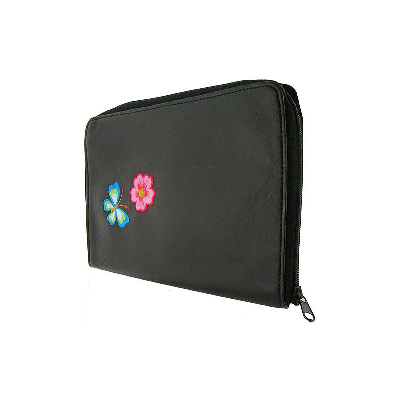 Shop vegan brand LAVISHY's colorful vegan/faux leather jewelry pouch with Flower & butterfly embroidery motif. Great for everyday & travel. A great gift for you or your friends & family. Wholesale available at www.lavishy.com with many unique & fun fashion accessories.