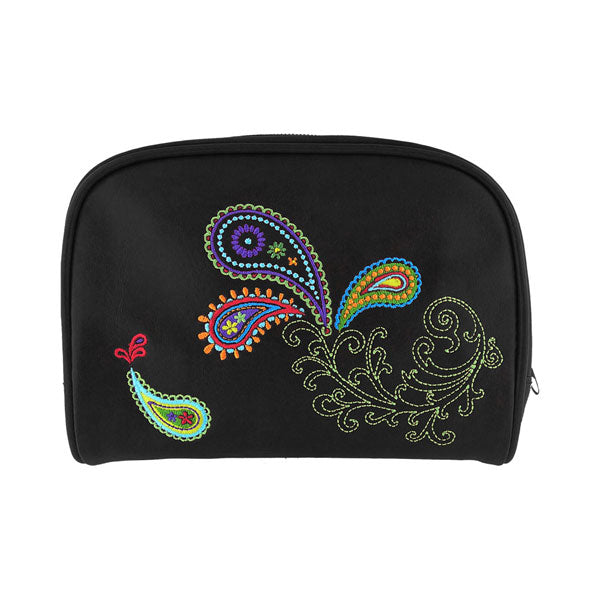 Shop vegan brand LAVISHY's colorful vegan/faux leather makeup pouch with paisley embroidery motif. Great for everyday & travel. A great gift for you or your friends & family. Wholesale available at www.lavishy.com with many unique & fun fashion accessories.