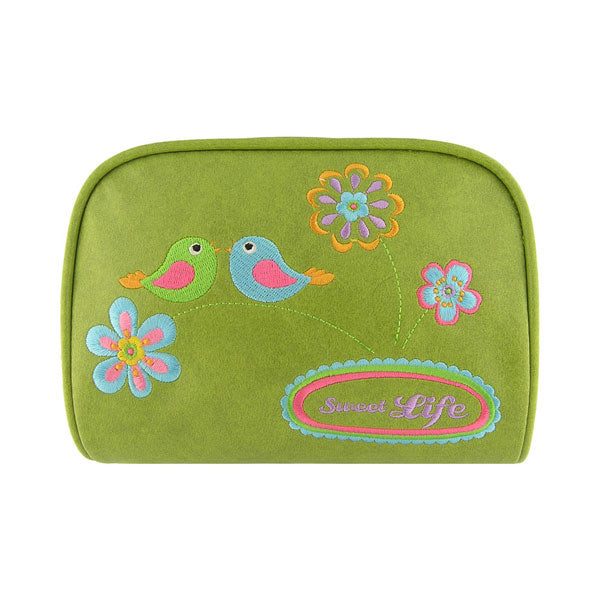 Shop vegan brand LAVISHY's colorful vegan/faux leather makeup pouch with bird & flower sweet life embroidery motif. Great for everyday & travel. A great gift for you or your friends & family. Wholesale available at www.lavishy.com with many unique & fun fashion accessories.