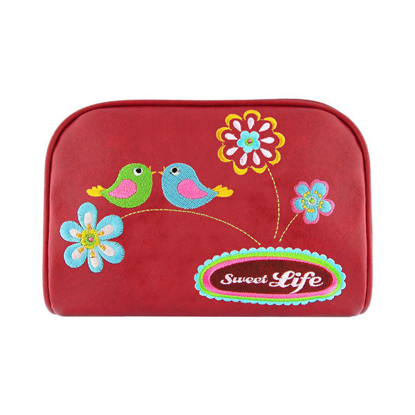 Online shopping for vegan brand LAVISHY's colorful vegan/faux leather makeup pouch with bird & flower sweet life embroidery motif. Great for everyday & travel. A great gift for you or your friends & family. Wholesale available at www.lavishy.com with many unique & fun fashion accessories.