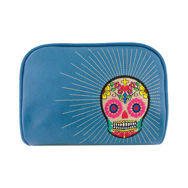 Shop PETA approved vegan brand LAVISHY's colorful vegan/faux leather makeup pouch with sugar & skull embroidery motif. Great for everyday & travel. A great gift for you or your friends & family. Wholesale available at www.lavishy.com with many unique & fun fashion accessories.