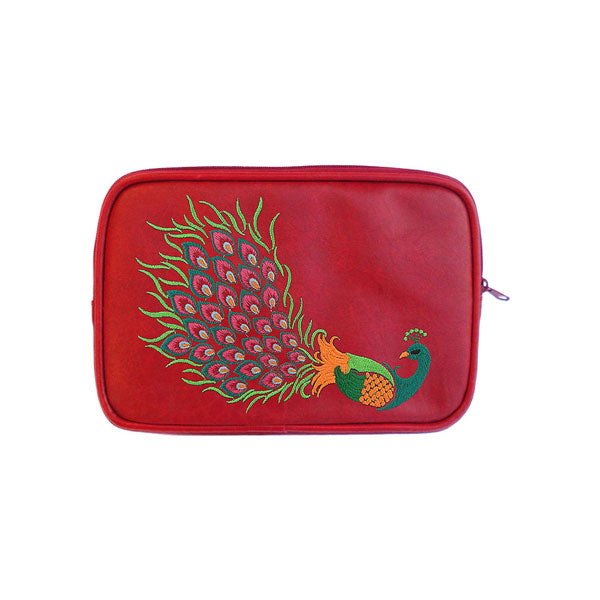 Shop PETA approved vegan brand LAVISHY's colorful vegan/faux leather E-reader sleeve with peacock embroidery motif. A great gift for you or your friends & family. Wholesale available at www.lavishy.com with many unique & fun fashion accessories.