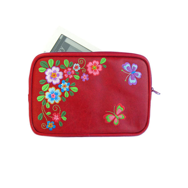 Shop PETA approved vegan brand LAVISHY's colorful vegan/faux leather E-reader sleeve with Flower & butterfly embroidery motif. A great gift for you or your friends & family. Wholesale available at www.lavishy.com with many unique & fun fashion accessories.