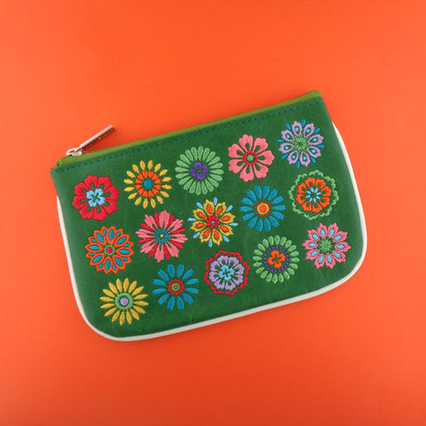Shop vegan brand LAVISHY's bohemian style flower embroidered vegan small pouch/coin purse that is Eco-friendly, ethically made, cruelty free. Great for everyday use or a gift for your family & friends. Wholesale at www.lavishy.com to gift shops, fashion accessories & clothing boutiques worldwide since 2001.