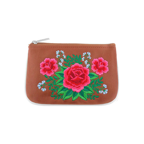 Shop vegan brand LAVISHY's Mexican folk art style rose flower embroidered vegan small pouch/coin purse that is Eco-friendly, ethically made, cruelty free. Great for everyday use or a gift for your family & friends. Wholesale at www.lavishy.com to gift shops, fashion accessories & clothing boutiques worldwide since 2001.