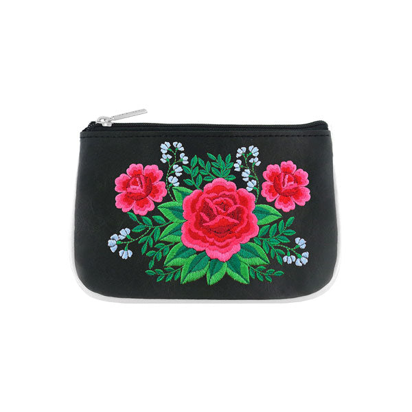Designed by vegan brand LAVISHY, this Eco-friendly, ethically made, cruelty free small pouch for women features lovely embroidery motif of Mexican rose. Wholesale available at www.lavishy.com along with other unique & fun vegan fashion accessories for retailers like gift shop & boutique.