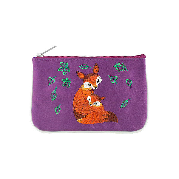 Shop vegan brand LAVISHY's fox mama & baby embroidered vegan small pouch/coin purse that is Eco-friendly, ethically made, cruelty free. Great for everyday use or a gift for your family & friends. Wholesale at www.lavishy.com to gift shops, fashion accessories & clothing boutiques worldwide since 2001.