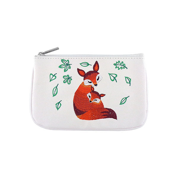 98-004: Fox mama & baby embroidered vegan small pouch
