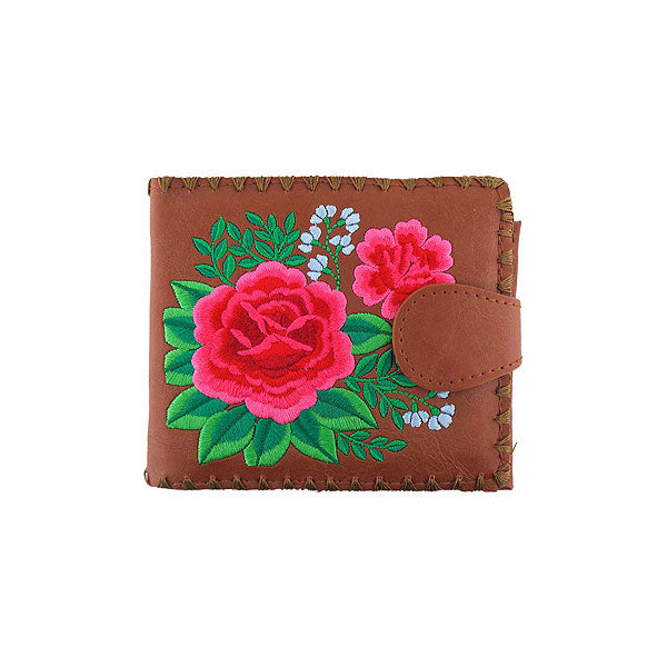 Shop embroidered Mexican rose flower vegan medium bifold wallet for women by PETA approved vegan brand LAVISHY, this Eco-friendly, ethically made, cruelty free wallet's lovely embroidery motif is framed by decorative stitches around the edge. Wholesale at www.lavishy.com with unique & fun fashion accessories for gift shop, boutique & corporate buyers.