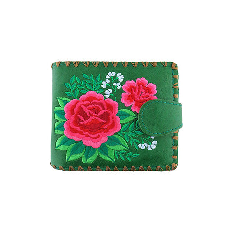 Shop embroidered Mexican rose flower vegan medium bifold wallet for women by vegan brand LAVISHY, this Eco-friendly, ethically made, cruelty free wallet's lovely embroidery motif is framed by decorative stitches around the edge. Wholesale at www.lavishy.com with unique & fun fashion accessories for gift shop, boutique & corporate buyers.