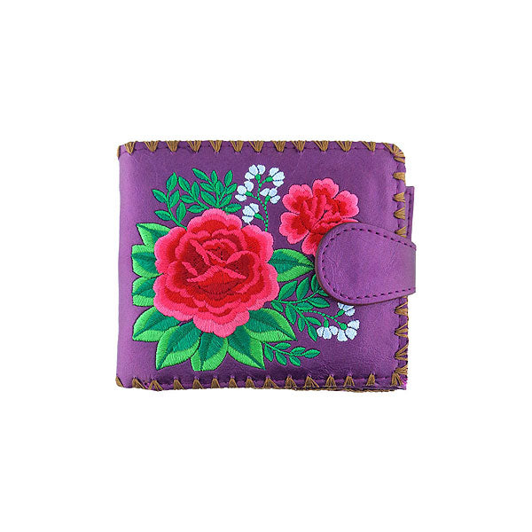 Online shopping for vegan brand LAVISHY's embroidered Mexican rose flower medium bifold wallet for women that is Eco-friendly, ethically made, cruelty free. Great for everyday use or a gift for your family & friends. Wholesale at www.lavishy.com to gift shops, fashion accessories & clothing boutiques worldwide since 2001.