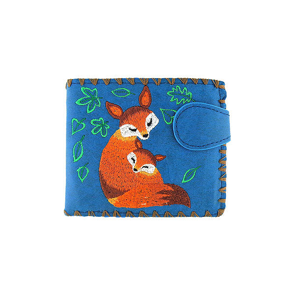 Online shopping for vegan brand LAVISHY's embroidered fox mama & baby medium bifold wallet for women that is Eco-friendly, ethically made, cruelty free. Great for everyday use or a gift for your family & friends. Wholesale at www.lavishy.com to gift shops, fashion accessories & clothing boutiques worldwide since 2001.
