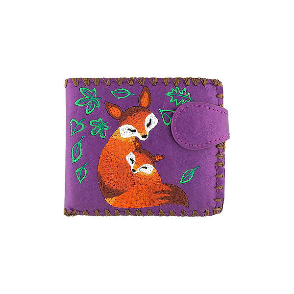 Shop vegan brand LAVISHY's embroidered fox mama & baby medium bifold wallet for women that is Eco-friendly, ethically made, cruelty free. Great for everyday use or a gift for your family & friends. Wholesale at www.lavishy.com to gift shops, fashion accessories & clothing boutiques worldwide since 2001.