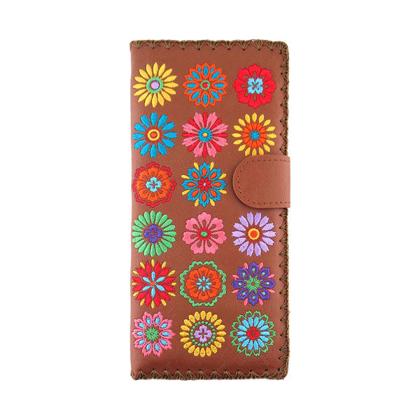 98-201: Flower embroidered vegan large flat wallet