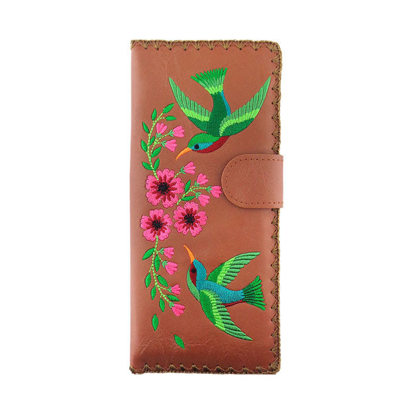 Online shopping for vegan brand LAVISHY's Eco-friendly, ethically made, cruelty free large flat wallet for women features delightful hummingbird and flower embroidery motif. Wholesale at www.lavishy.com for retailers like gift shop & boutique worldwide since 2001.