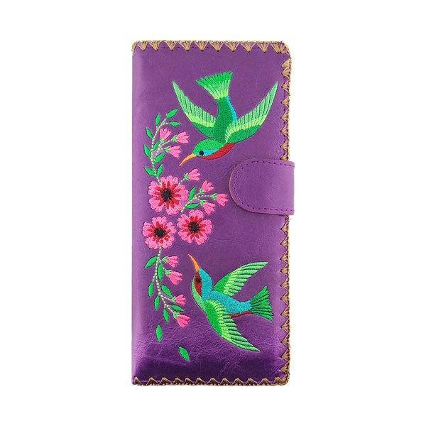 Designed by PETA approved vegan brand LAVISHY, this Eco-friendly, ethically made, cruelty free large flat wallet for women features delightful embroidery motif of hummingbird & flower. Wholesale available at www.lavishy.com along with other unique & fun vegan fashion accessories for retailers like gift shop & boutique.