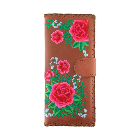 Online shopping for vegan brand LAVISHY's Eco-friendly, ethically made, cruelty free large flat wallet for women features Mexican rose flower embroidery motif. Wholesale at www.lavishy.com for retailers like gift shop & boutique worldwide since 2001.