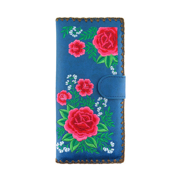 Designed by PETA approved vegan brand LAVISHY, this Eco-friendly, ethically made, cruelty free large flat wallet for women features delightful embroidery motif of Mexican rose. Wholesale available at www.lavishy.com along with other unique & fun vegan fashion accessories for retailers like gift shop & boutique.