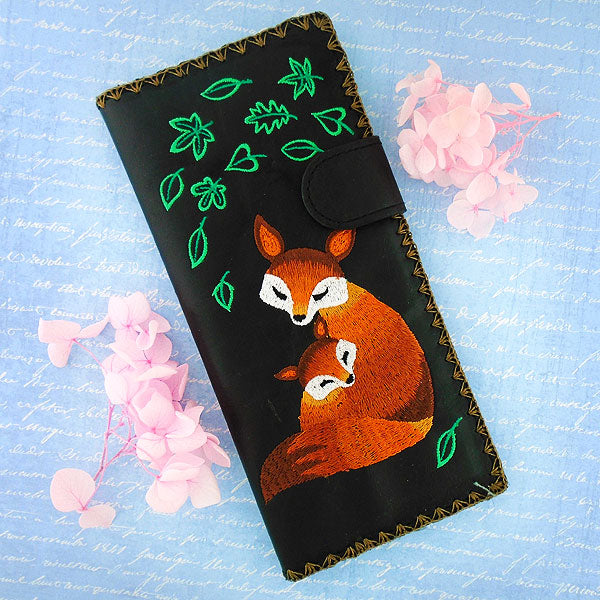 Online shopping for vegan brand LAVISHY's Eco-friendly, ethically made, cruelty free large vegan flat wallet for women features delightful embroidery motif of fox mama & baby. Wholesale available at www.lavishy.com along with other unique & fun vegan fashion accessories for retailers like gift shop & boutique.
