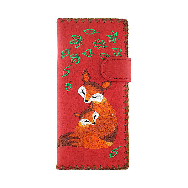 98-204: Fox mama & baby embroidered vegan large flat wallet