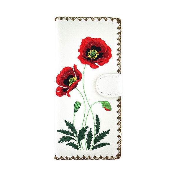 Online shopping for vegan brand LAVISHY's Eco-friendly, ethically made, cruelty free embroidered large flat wallet for women features poppy flower embroidery motif. Wholesale at www.lavishy.com for retailers like gift shop, clothing & fashion accessories boutique & book store worldwide since 2001.