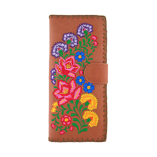 Online shopping for vegan brand LAVISHY's Eco-friendly, ethically made, cruelty free embroidered large flat wallet for women features Mexican flora embroidery motif. Wholesale at www.lavishy.com for retailers like gift shop, clothing & fashion accessories boutique & book store worldwide since 2001.