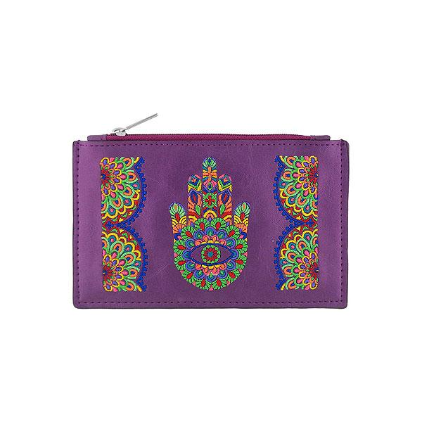 Online shopping for vegan brand LAVISHY's Eco-friendly, ethically made, cruelty free bohemian style vegan flat pouch with Indian hand Hamsa/hand of Fatima embroidery motif. Wholesale at www.lavishy.com for retailers like gift shop, clothing & fashion accessories boutique, book store in Canada, USA, worldwide since 2001.