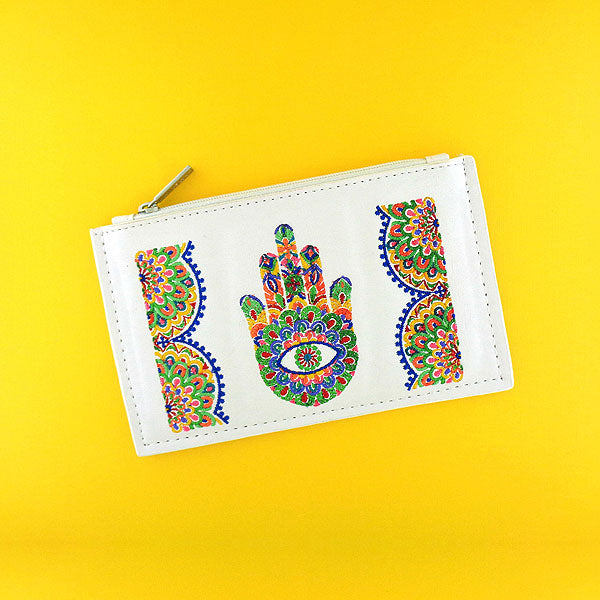 98-301: Indian hand Hamsa/hand of Fatima Embroidered Vegan Flat Pouch