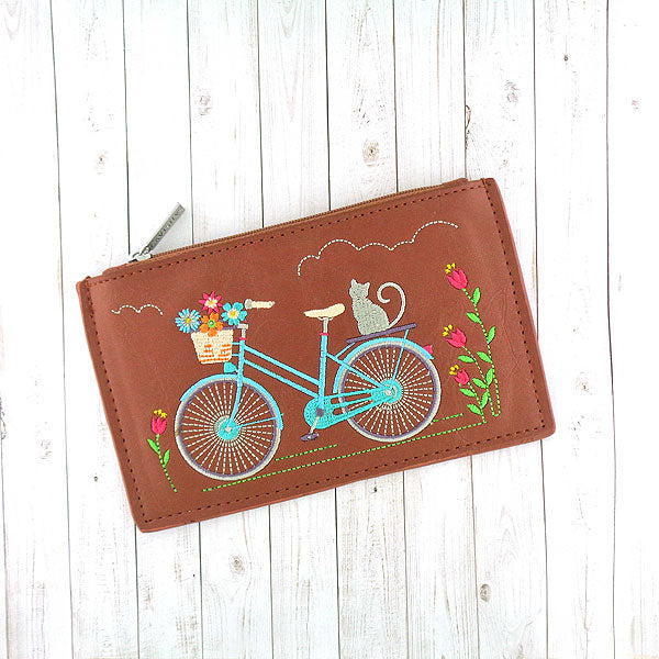 Online shopping for vegan brand LAVISHY's Eco-friendly, ethically made, cruelty free bohemian style vegan flat pouch for women features cat on bicycle embroidery motif. Wholesale at www.lavishy.com for retailers like gift shop, clothing & fashion accessories boutique, book store in Canada, USA, worldwide since 2001.