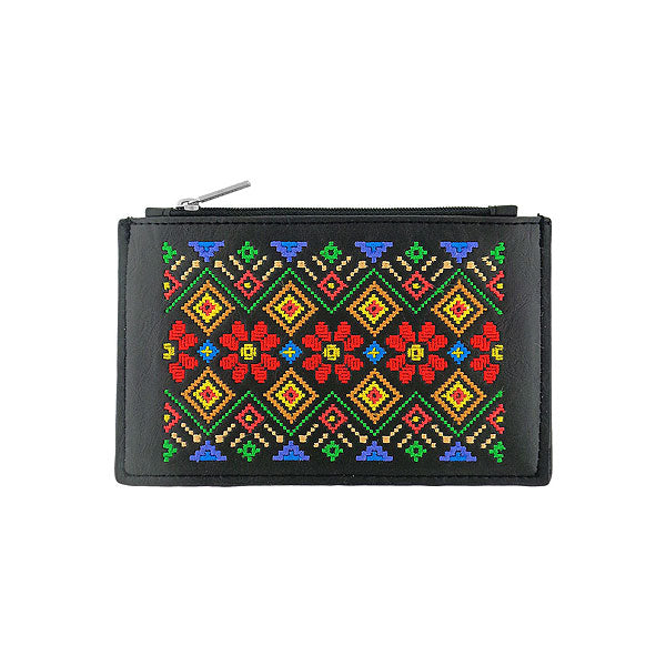 Online shopping for vegan brand LAVISHY's Eco-friendly, ethically made, cruelty free bohemian style vegan flat pouch for women with Ukraine traditional embroidery motif. Wholesale at www.lavishy.com for retailers like gift shop, clothing & fashion accessories boutique, book store in Canada, USA, worldwide since 2001.