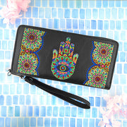 Online shopping for vegan brand LAVISHY's Eco-friendly, ethically made, cruelty free Hamsa/hand of Fatima embroidered vegan large wristlet wallet for women. Wholesale at www.lavishy.com for retailers like gift shop, clothing & fashion accessories boutique & book store worldwide since 2001.