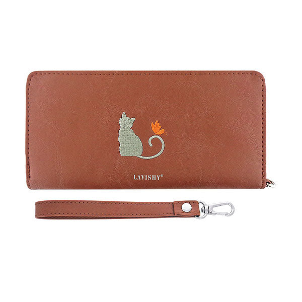 Online shopping for vegan brand LAVISHY's Eco-friendly, ethically made, cruelty free cat on bicycle embroidered vegan large wristlet wallet for women. Wholesale at www.lavishy.com for retailers like gift shop, clothing & fashion accessories boutique & book store worldwide since 2001.
